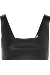 Alexander Wang T By Stretch Leather Bra Top Black