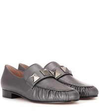 Valentino Garavani Metallic Leather Loafers Silver