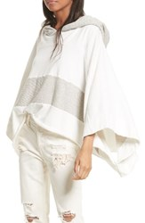 Free People Women's Never Say Never Hooded Poncho White