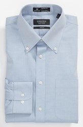 Men's Big And Tall Nordstrom Smartcare Wrinkle Free Solid Pinpoint Cotton Trim Fit Dress Shirt Blue
