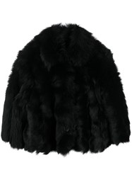 Red Valentino Furry Cropped Jacket Black