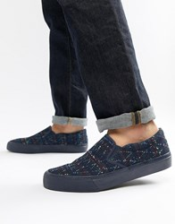 Asos Design Slip On Plimsolls In Denim With Embroidery Blue