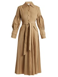 Huishan Zhang Anise Pleated Cotton Gabardine Trench Coat Tan