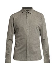Ermenegildo Zegna Button Down Long Sleeved Cotton Polo Shirt Grey