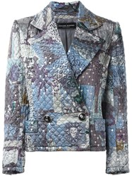 Jean Louis Scherrer Vintage Sequin Quilted Jacket Grey