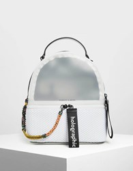 Charles And Keith Mesh Detail Backpack White