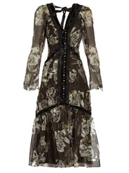 Erdem Makayla V Neck Silk Organza Dress Black White
