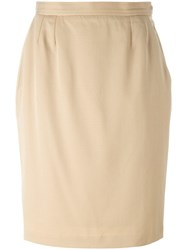 Yves Saint Laurent Vintage Knee Length Skirt Nude And Neutrals