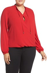 Michael Michael Kors Plus Size Women's Crossover Woven Front Top