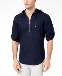 Inc International Concepts I.N.C. Men's Half Zip Linen Blend Hoodie Created For Macy's Basic Navy