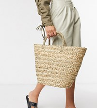 South Beach Exclusive Clean Straw Tote Bag Beige