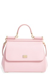 Dolce And Gabbana 'Small Miss Sicily' Leather Satchel Pink Rosa Carne Duo