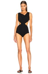 Rick Owens Notched Draped Swimsuit In Black