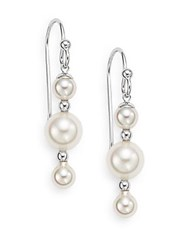 Majorica 5Mm 8Mm White Round Pearl And Sterling Silver Linear Drop Earrings Silver Pearl