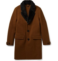 Burberry Shearling Trimmed Wool Overcoat Brown