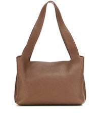 The Row Duplex Small Leather Shoulder Bag Brown
