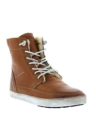 Blackstone Leather Lace Up High Top Sneakers Ember