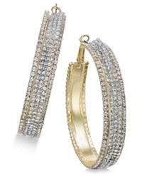 Thalia Sodi Gold Tone Metal Mesh And Crystal Hoop Earrings Only At Macy's