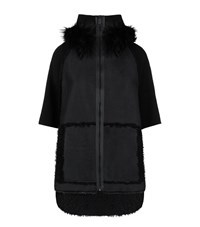 Elie Tahari Joey Fur Hood Cape Female