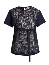 N 21 Lace Panelled Cotton T Shirt Navy