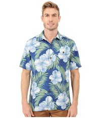 Tommy Bahama Printed Plaid Hibiscus Camp Shirt Cobalt Haze Men's Clothing Blue