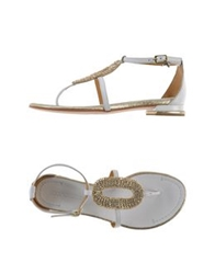 Coral Blue Thong Sandals White