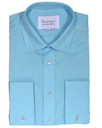 Double Two Men's Long Sleeve Non Iron Formal Shirt Blue