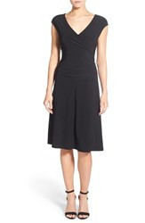 Women's Nic Zoe Matte Jersey Faux Wrap Fit And Flare Dress Black Onyx