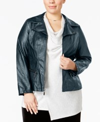 Alfani Plus Size Faux Leather Moto Jacket Only At Macy's Stadium Grey