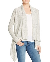 Bloomingdale's C By Basic Open Cashmere Cardigan Light Grey Donegal