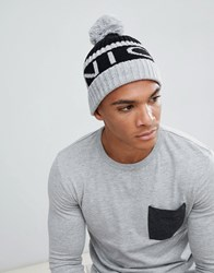 Nicce London Bobble Hat In Grey With Logo