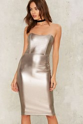 Fully Liquid Metallic Dress Silver
