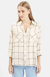 Topshop 'Large Scale' Check Shirt Beige Multi