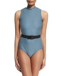 Cover Upf 50 Waist Belt Check One Piece Swimsuit Black Gingham