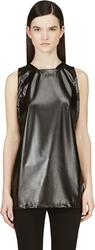 Rad By Rad Hourani Black Faux Leather Unisex Tank Top