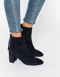 Faith Bae Suede Block Heeled Ankle Boots Navy Suede