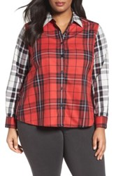 Foxcroft Mixed Plaid Shirt Plus Size Red