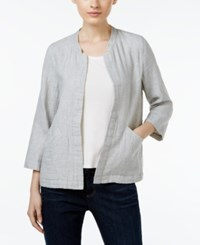 Eileen Fisher Open Front Mandarin Collar Jacket Dark Pearl