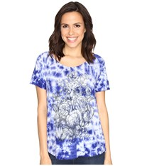 Lucky Brand Floral Washed Tee Royal Blue Women's T Shirt