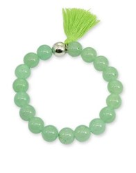 Lord And Taylor Tasseled Stone Bead Bracelet Green