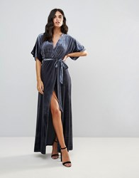 Wyldr Dreamer Desert Moon Velvet Maxi Wrap Dress With Low Neckline Silver