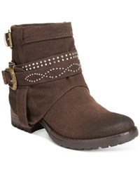 Dolce By Mojo Moxy Booyah Studded Cowboy Booties Women's Shoes Espresso