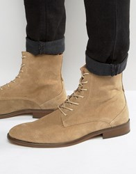 Zign Lace Up Suede Boots Beige