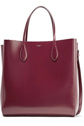 Rochas Glossed Leather Tote Burgundy