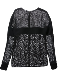 Emanuel Ungaro Floral Lace Embroidered Top Black