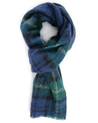 Scotch And Soda Yellow Green Blue Checks Brushed Wool Scarf