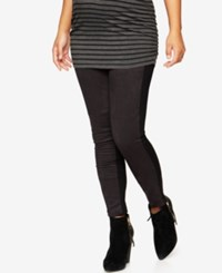 A Pea In The Pod Maternity Faux Suede Paneled Leggings Black