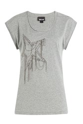 Just Cavalli Cotton T Shirt With Embellishment Gr. S