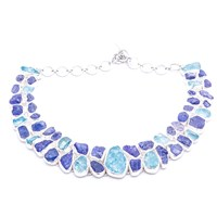 Poppy Jewellery Tanzanite And Aquamarine Gemstone Statement Silver Necklace Blue
