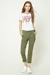 Forever 21 Distressed Boyfriend Pants Olive